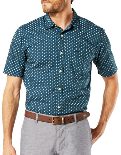 Dockers Short Sleeve Slim-Fit Sport Shirt-BLUE-X-Large