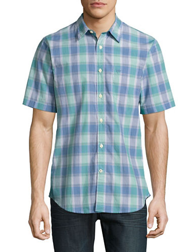 Dockers Laundered Poplin Check Short Sleeve Shirt-GREEN-Small