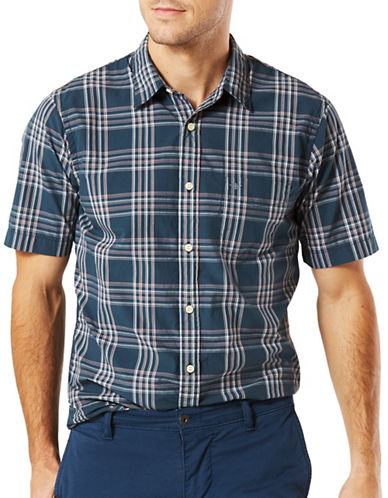 Dockers Laundered Poplin Plaid Shirt-GREY-Large