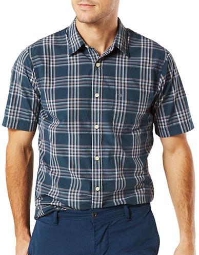 Dockers Laundered Poplin Plaid Shirt-GREY-Small