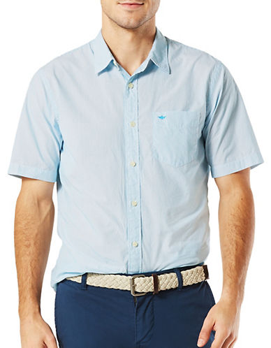 Dockers Short Sleeve Slim-Fit Sport Shirt-LIGHT BLUE-Small
