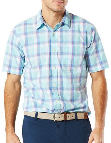 Dockers Short Sleeve Slim-Fit Sport Shirt-BLUE-Small