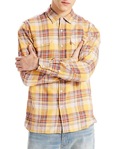 LeviS Jackson Flannel Worker Shirt-YELLOW-Medium