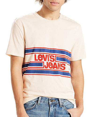 Levi'S Orange Tab Striped Graphic Tee-WHITE-Large 89060148_WHITE_Large