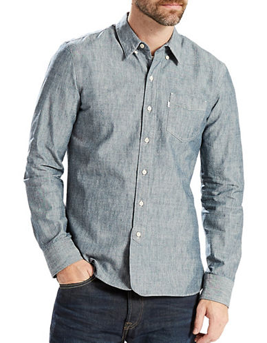 LeviS Selvedge Sunset One-Pocket Sport Shirt-BLUE-X-Large