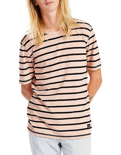 Levi'S Line 8 Outside Stripe Cameo Rose Unisex Tee-PINK-X-Large 89060212_PINK_X-Large