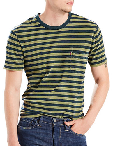 LeviS In Sunset Pocket Striped Cotton Tee-BLACK/ORANGE-X-Large