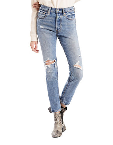 LeviS 501 Distressed Skinny Jeans-BLUE-30