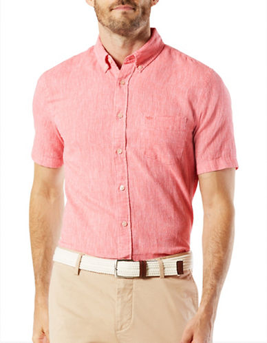 Dockers Linen and Cotton Blend Sport Shirt-RED-Small