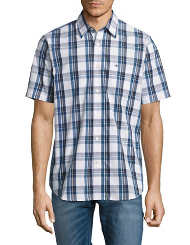 Dockers Easy Casual Short Sleeve Plaid Shirt-WHITE-Large