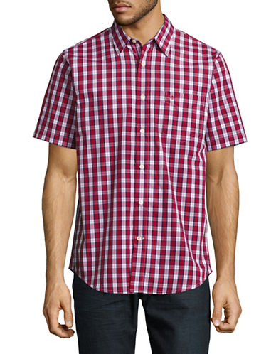 Dockers Easy Casual Short Sleeve Plaid Shirt-RED-Small