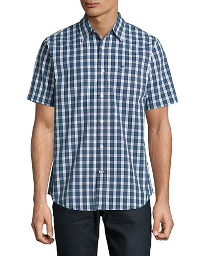 Dockers Easy Casual Short Sleeve Plaid Shirt-BLUE-Large