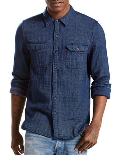 LeviS Jackson Herringbone Worker Shirt-BLUE-Medium
