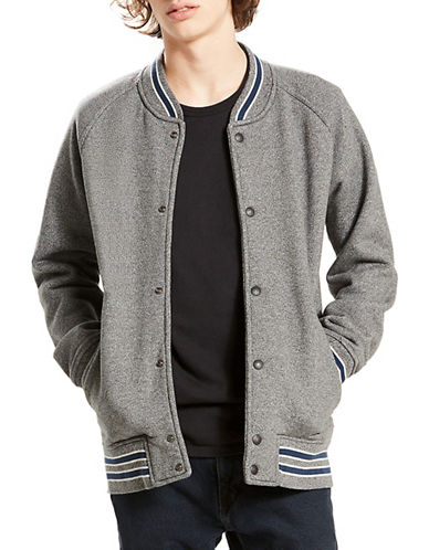 LeviS Cuff Stripe Fleece Bomber-HEATHER GREY-X-Large