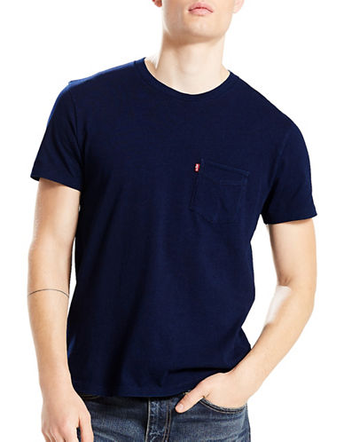 LeviS Sunset Pocket Cotton Tee-BLUE-Small