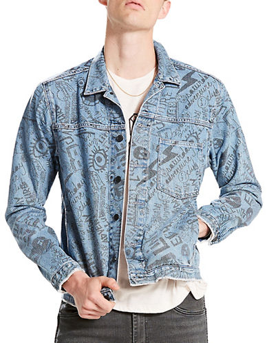 LeviS Line 8 Print Cotton Trucker Jacket-BLUE-X-Large