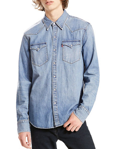 LeviS Barstow Western Cotton Casual Button-Down Shirt-BLUE-Small
