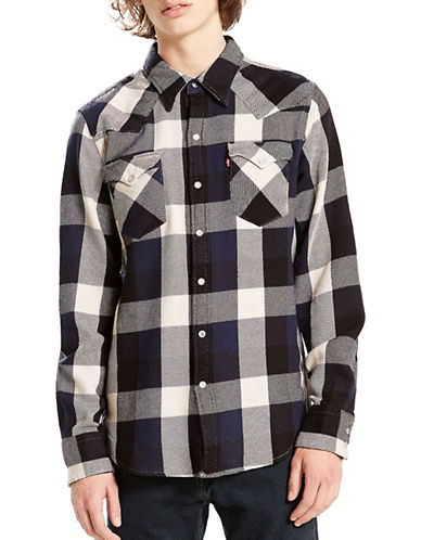 LeviS Barstow Western Check Cotton Casual Button-Down Shirt-BLUE-Large