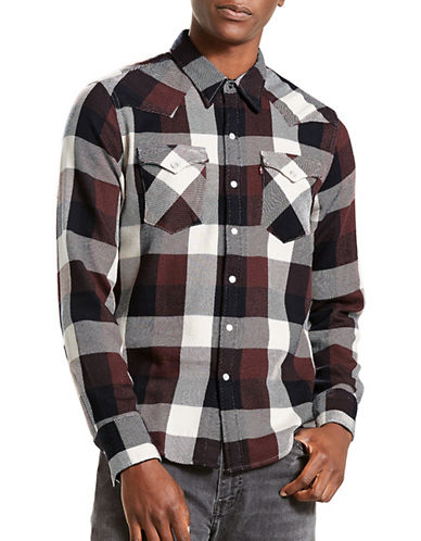 LeviS Barstow Western Check Cotton Casual Button-Down Shirt-BROWN-Medium