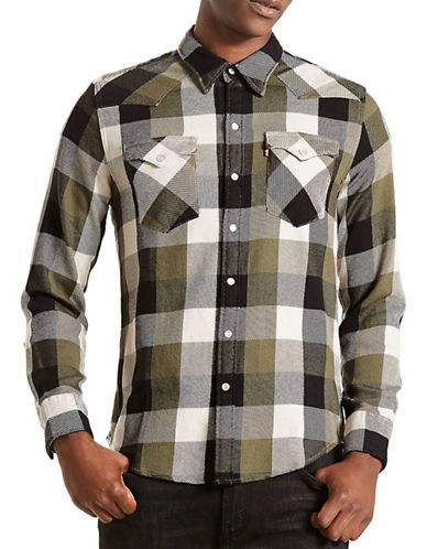 LeviS Barstow Western Check Cotton Casual Button-Down Shirt-GREEN-Medium