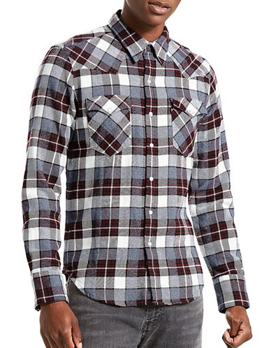 Levi'S Barstow Western Plaid Cotton Casual Button-Down Shirt-RED-Small