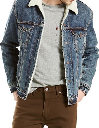 LeviS Faux Fur Denim Trucker Jacket-BLUE-Large