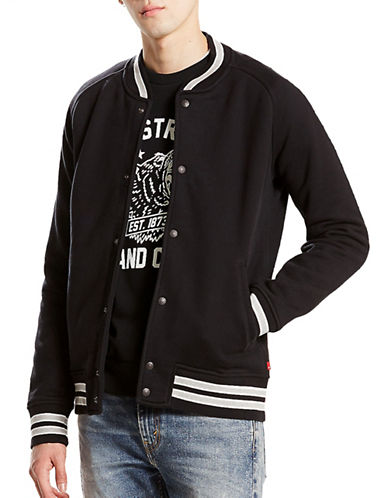 LeviS Cuff Stripe Fleece Bomber-BLACK-Small
