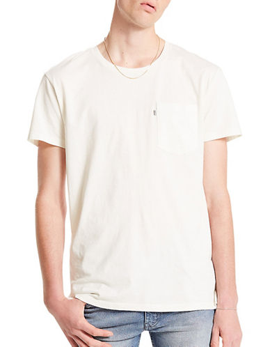 LeviS Line 8 Long Line Cotton T-Shirt-BEIGE-Small