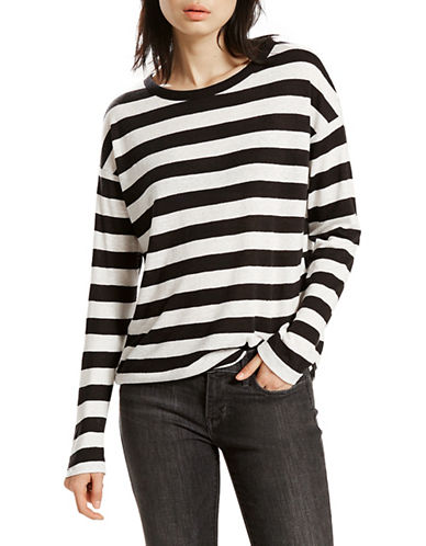 LeviS Mara Striped Tee-BLACK/WHITE-Large