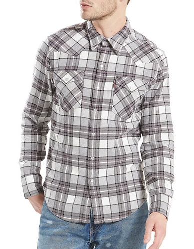 LeviS Barstow Western Plaid Cotton Casual Button-Down Shirt-GREY-Large