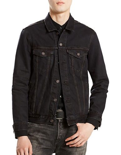 LeviS Buttoned Cotton Trucker Jacket-BLACK-X-Large