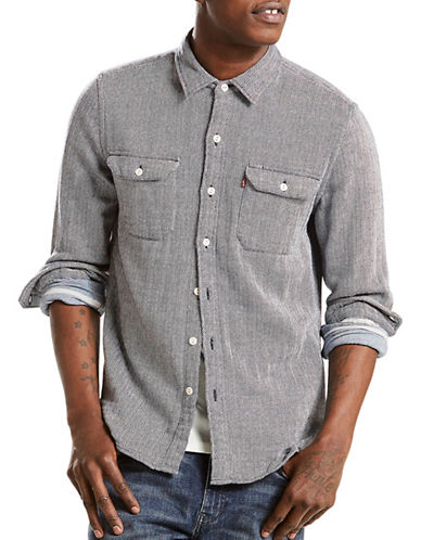 LeviS Jackson Herringbone Worker Shirt-GREY-Medium