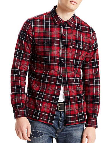 LeviS Cotton Casual Sport Shirt-RED-X-Large