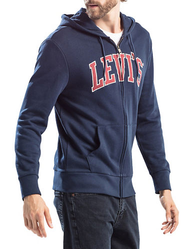 Levi'S Zip Cotton Logo Hoodie-BLUE-X-Large 89771359_BLUE_X-Large