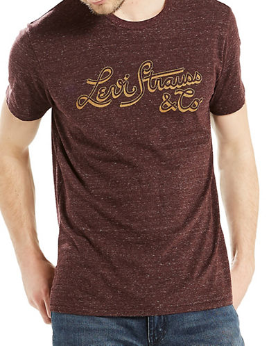 LeviS Logo Cotton Tee-BROWN-Small