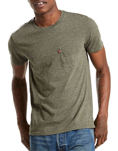 LeviS Sunset Pocket Tri-Blend Tee-GREEN-X-Large