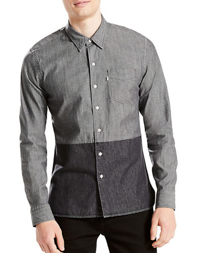 LeviS Pieced Sunset Sport Shirt-GREY-X-Large