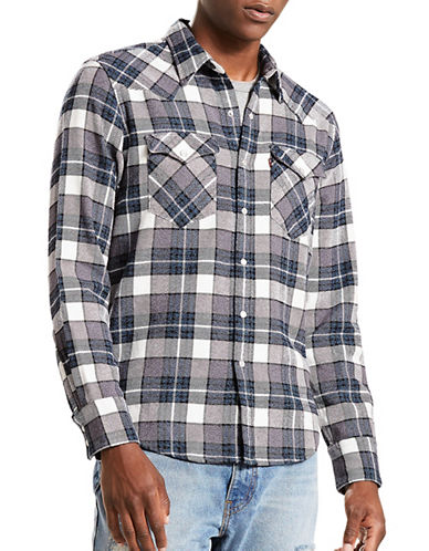 LeviS Barstow Western Plaid Cotton Casual Button-Down Shirt-BLUE-Large