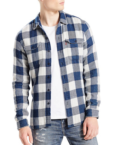 LeviS Jackson Checked Worker Shirt-BLUE-Large