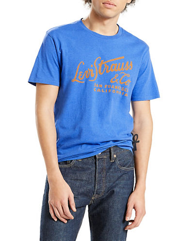 LeviS Graphic Logo Cotton T-Shirt-BLUE-Small