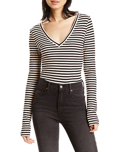 LeviS Striped V-Neck Tee-BLACK MULTI-Small