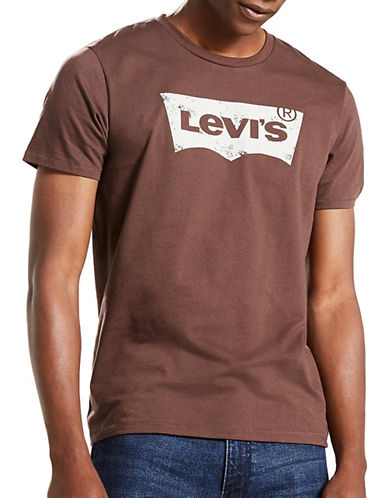 LeviS Graphic Cotton Tee-BROWN-Small