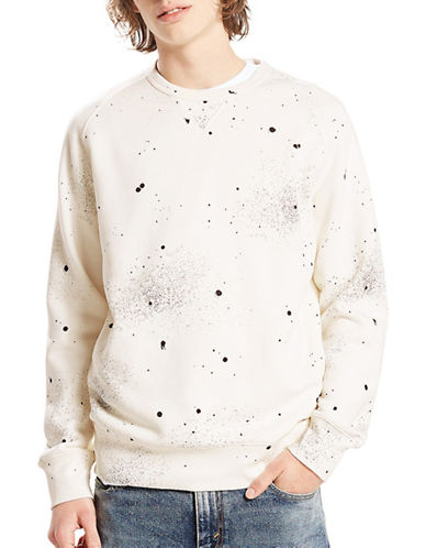 LeviS Paint Splatter Sweatshirt-BEIGE-X-Large
