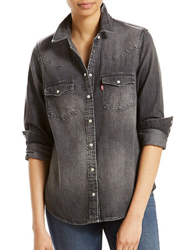 LeviS Modern Western Cotton Casual Button-Down Shirt-GREY-Small