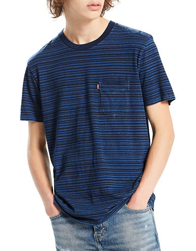 LeviS Sunset Striped Pocket Cotton Tee-BLUE-Small
