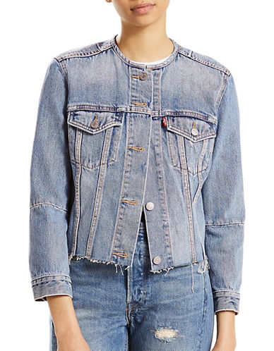 LeviS Altered Denim Trucker Jacket-BLUE-Large