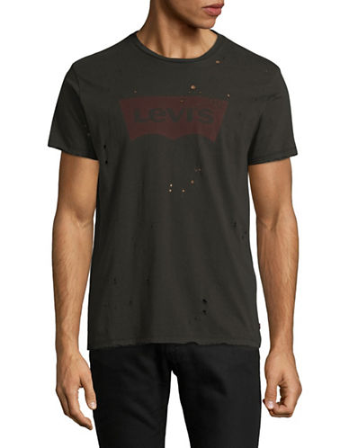LeviS Distressed T-Shirt-BLACK-X-Large