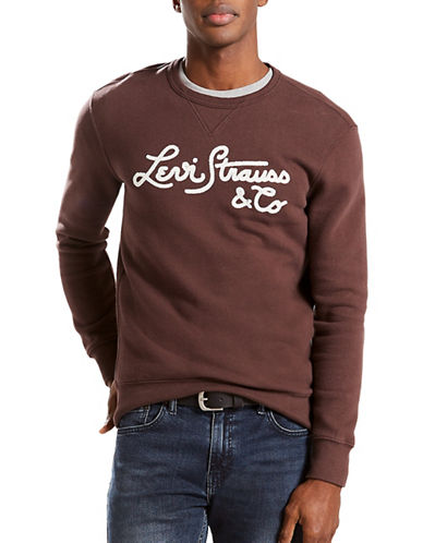 LeviS Graphic Crewneck Sweatshirt-BROWN-Large