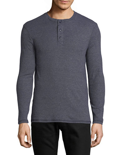 Dockers Heathered Long-Sleeve Henley-BLUE-X-Large