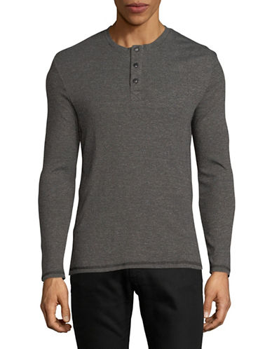Dockers Heathered Long-Sleeve Henley-BLACK-X-Large